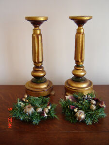 Beautiful Vintage Hand Crafted Candle Holders & Wreaths