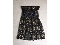 Gold and black spotty Warehouse party dress Size 12