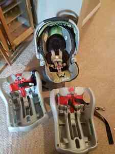 graco carseat 2 bases and compatible stroller with sunshade