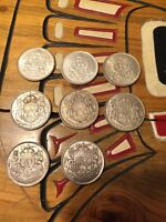 Silver Canada 50 cent coins 40's, 50's, and 60's.