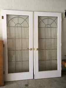 """Pair of French Doors- Leaded Glass/Beveled Glass Combo 34""""x80"""""""