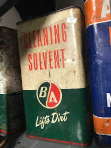 2 VINTAGE B/A BA B.A. CLEANING SOLVENT CANS