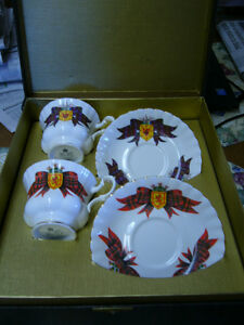 MACDONALD & ROYAL STEWART TARTANS CUPS & SAUCERS