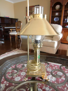 Small, Brass hurricane style electric lamp