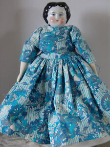 """Victorian Porcelain China lady Doll black moulded hair 11""""Tall U"""
