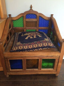 Indian solid wood entry chair with drawer and stained glass