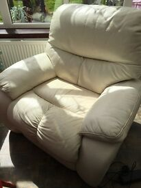 Italian white leather elec relining armchair