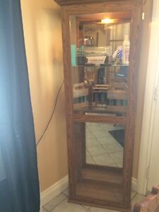 glass display cabinet with light  mirror back