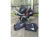 Icandy pear twin double pushchair buggy pram maxi cosi car seat with rain covers