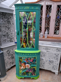 Stunning up cycled, leopard/ jungle theme vintage display cabinet