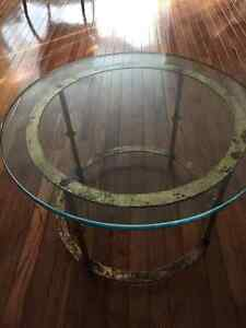DISTRESSED GOLD COLOURED IRON ROUND TABLE OR OCCASIONAL TABLE