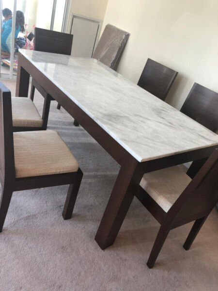REAL TEAK WOOD DINING TABLE WITH WHITE CARRERA MARBLE ...