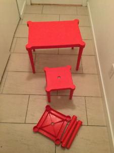 Red Kids Table & Chair