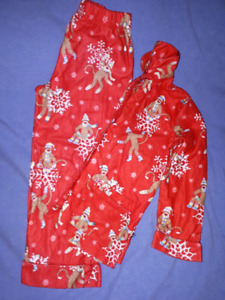 Boys Sock Monkey Christmas PJ's Size 6/6X,EUC