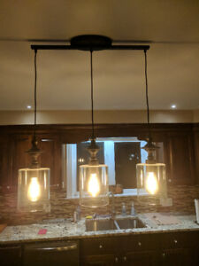3 Light Bronze Pendant Light Fixture