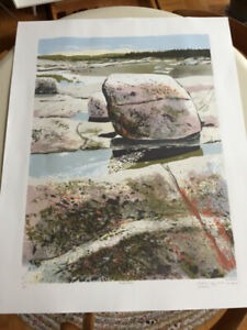 Vintage Signed Lithograph by  Canadian Artist J Savage Painting