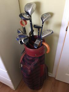 Sac de golf complet Campbell droitier avec boîtes de balles