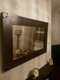 Faux leather mirror from next