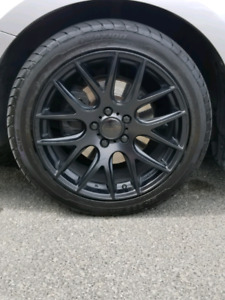 "18"" Satin black DAI Alloy Rims and Ovation tires"