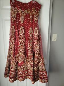 Red and gold Indian Bridal lehenga for sale
