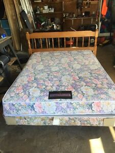Double bed set with box spring and mattress