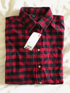 Womens Uniqlo Red Buffalo Check Flannel Shirt Size Large