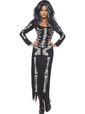 Damen Halloween Sexy Skelett-Kostüm Verkleidung Outfit Party Erwachsene (Skelett Halloween Outfit)