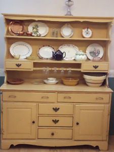 Wooden cupboard with hutch