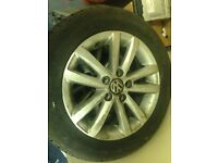 VW Polo complete set of Alloy 4 wheel Tyres