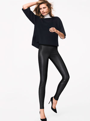 WOLFORD LINDSEY LEATHER LOOK BLACK LEGGINGS, SIZE 34, UK 6, USA 2, New in box