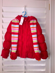 NEW Gymbo Red Winter Puffer Coat, Hat & Scarf NEVER Worn!