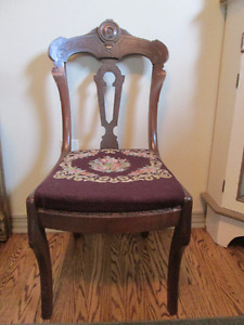 REDUCED PRICE .....Antique chair with needle point seat