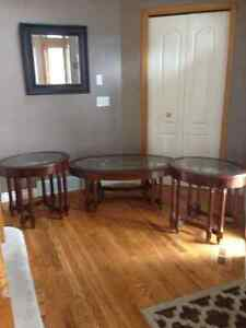 Beautiful cherry wood beveled glass coffee table and end tables