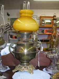 Antique Bradley & Hubbard Brass Oil Lamp