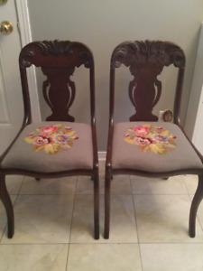 Antique Rococo Revival Needlepoint Upholstered Walnut Chairs