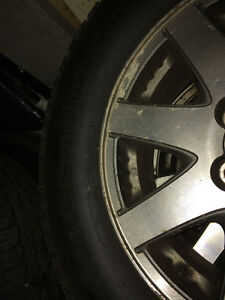 Offering a set of tires and rims.