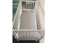 Baby cot, mattress, and extra