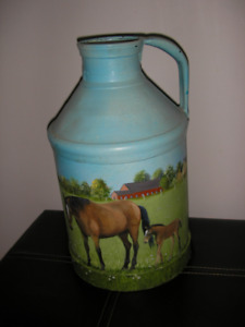 "Beautifully Hand Painted Vintage 14"" Milk Can(lovely painting  s"