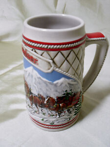 Anheuser-Busch Beer stein with CLYDESDALE  horses and Wagon
