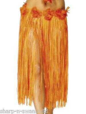 Damen Lang Orange Hawaiianisches Hula-Mädchen Blumenmuster Bastrock Maskenkostüm