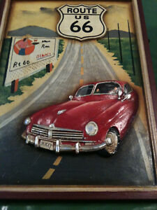 """Route 66 3D Carved Wood Painting 15"""" x 21"""" man cave"""