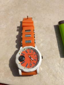 Designer watch. Survival sytle w/ compass. Orange & Chrome