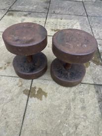 A pair of 28kg steel dumbbells