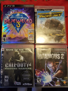 PS3 games.  Call Of Duty, Infamous2, Motorstorm, Bejeweled