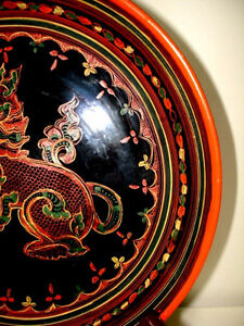 fine BURMESE LACQUER antique WOOD Plate FOO LION gorgeous PanYun Cambridge Kitchener Area image 4