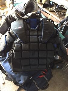 Large brown goalie chest protector