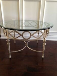 Round wrought iron and glass coffee table - I'm available!