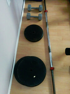 barbell, and weights