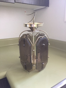 Retro Brass & Smoked Glass Light Fixture