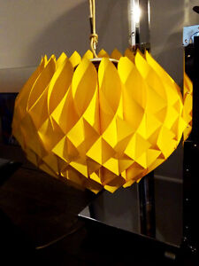 RETRO Eames Era YELLOW PETAL ceiling light fixture 1960s PLASTIC